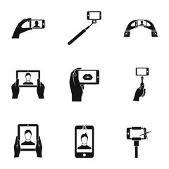 Selfie icons set. Simple illustration of 9 selfie vector icons for web