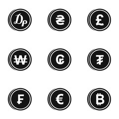 Money icons set. Simple illustration of 9 money vector icons for web