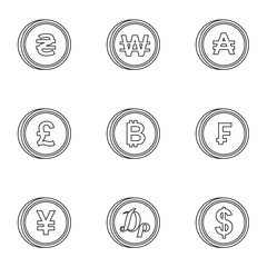 Finance icons set. Outline illustration of 9 finance vector icons for web