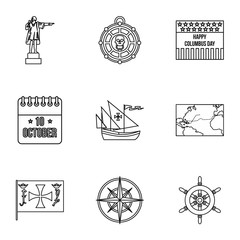 Search of mainland icons set. Outline illustration of 9 search of mainland vector icons for web