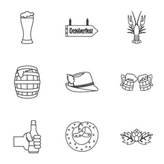 Holiday of beer icons set. Outline illustration of 9 holiday of beer vector icons for web