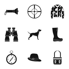 Hunting of animals icons set. Simple illustration of 9 hunting of animals vector icons for web
