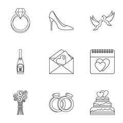 Wedding celebration icons set. Outline illustration of 9 wedding celebration vector icons for web