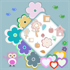invitation pattern with owl flower pattern for kids