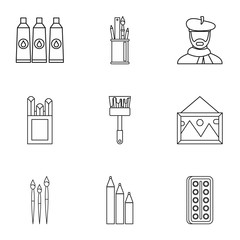 Paint drawing icons set. Outline illustration of 9 paint drawing vector icons for web