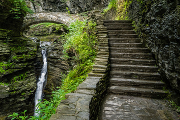 Stone Bridge over Waterfall