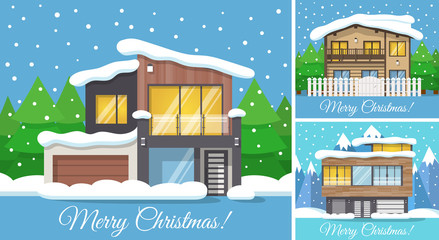 3 in 1 Modern winter Family House Poster or Greeting Card for Christmas. Vector illustration.