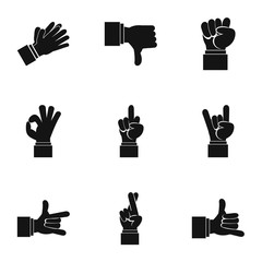 Hand icons set. Simple illustration of 9 hand vector icons for web