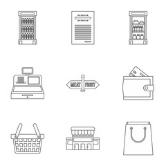 Market icons set. Outline illustration of 9 market vector icons for web
