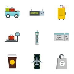 Airport icons set. Flat illustration of 9 airport vector icons for web