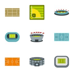 Sports complex icons set. Flat illustration of 9 sports complex vector icons for web