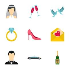 Wedding icons set. Flat illustration of 9 wedding vector icons for web