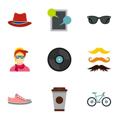Trendy hipsters icons set. Flat illustration of 9 trendy hipsters vector icons for web