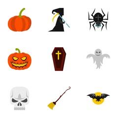Halloween holiday icons set. Flat illustration of 9 halloween holiday vector icons for web