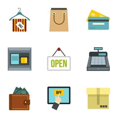 Online purchase icons set. Flat illustration of 9 online purchase vector icons for web
