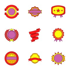 Label icons set. Cartoon illustration of 9 label vector icons for web