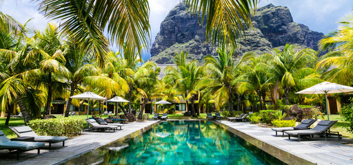 Luxury tropical vacation.Spa swimming pool, Mauritius island Wall mural