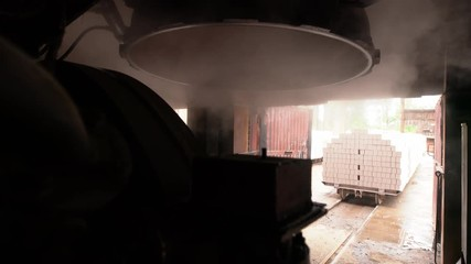 Wall Mural - Brickworks. View of steam from drying apparatus
