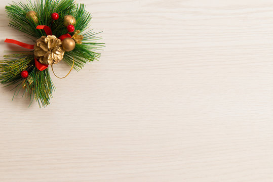 Empty Christmas Background. White wood texture