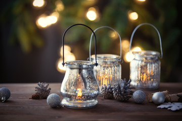 Christmas lanterns and fairy lights