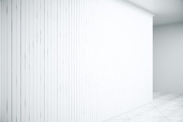 Scene with white blinds closeup