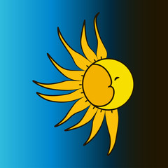 The moon and the sun on a blue background. Vector illustration.