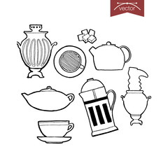 Engraving hand drawn Kitchenware vector cup, saucer, teapot