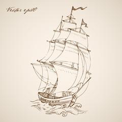 Engraving vintage hand drawn vector frigate. Pencil Sketch ship.