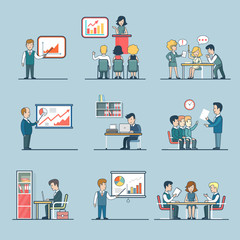 Linear Flat people Business people work report data vector