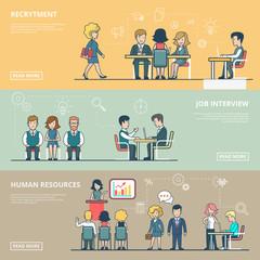 Linear Flat Business recruitment human resource interview vector