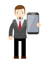 businessman showing a blank smart phone screen
