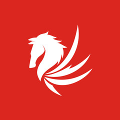 Pegasus Head Logo Vector on Red Background