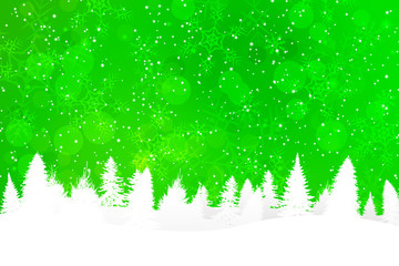 Green Christmas Background with Snowy Hills