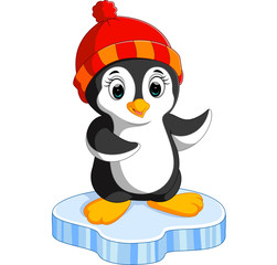 Happy cartoon penguin on ice