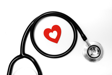 healthcare and medical concept, close up of stethoscope