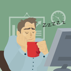 Tired employee sleeping at workplace with cup of coffee. Businessman sleeping at his office desk. Vector flat design illustration