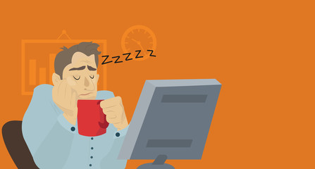 Businessman sleeping at his office desk with cup of coffee. Vector flat design illustration