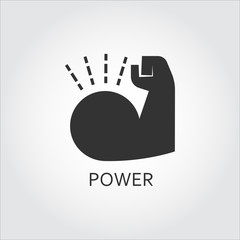 Flat black vector icon power as muscle hand