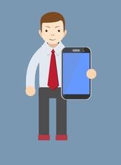 office worker showing a blank smart phone screen