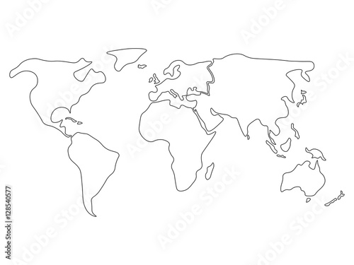 World Map Divided To Six Continents In Black North America - World map drawing outline