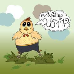 New year illustration wirh chicken.