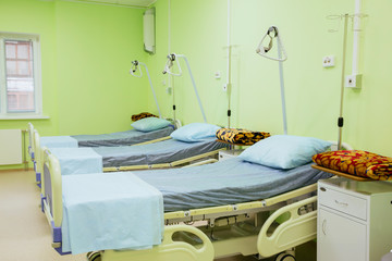 Hospital Bed Ward. Special Care Empty Hospital Ward. Semi Private & General Wards for the patient in the clinic. Room with green walls