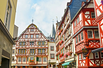 Moselle Valley Germany: Timbered houses in the old town of Bernkastel-Kues