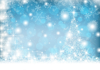 Snowflake Christmas tree on winter background Vector