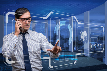 Young businessman in computing concept