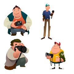 Funny Photographer Characters Holding a Camera