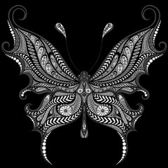 Beautiful vector butterfly from a variety of patterns on a black background