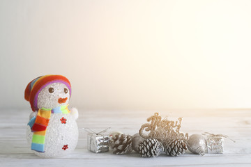 Stock Photo:.Merry Christmas and happy new year event on wood