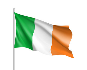 Waving flag of Ireland state. Illustration of European country flag on flagpole with red and white colors. Vector 3d icon isolated on white background