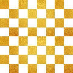 金と白のモザイク模様 背景素材